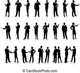 silhouette, set, super, persone affari