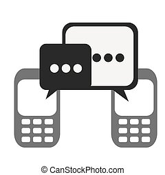 silhouette set tech cellphone and dialog box icon flat...