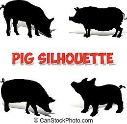 silhouette, set., varken, achtergrond, black , witte