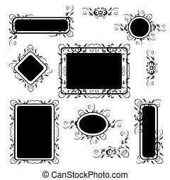 silhouette, set, vendemmia, cornice, ornamento, floreale