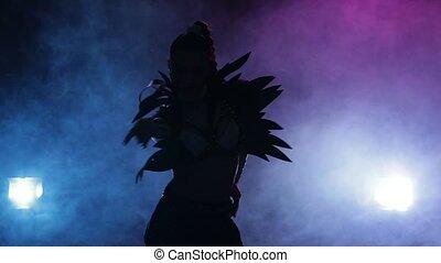 Silhouette sexy dancer in erotic costume posing on camera. Smoke