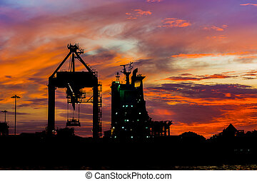 silhouette, ship., cargaison