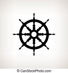 Silhouette ship wheel  on a light background, vector illustration
