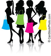 silhouette, shoppen, mädels