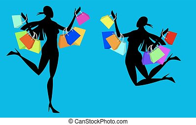 silhouette Shopping Addicted Girl