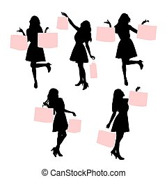 silhouette, shopping, donne
