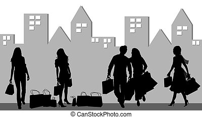 silhouette, shopping, persone