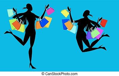 silhouette, shopping, toxicomano, ragazza
