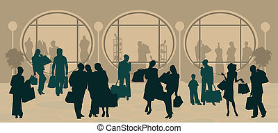 silhouette, shopping