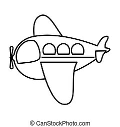 silhouette side airplane toy flat icon