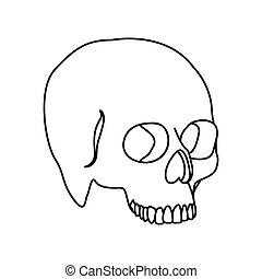 silhouette side view human skull icon flat