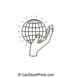 silhouette side view of hand holding in palm a globe chart