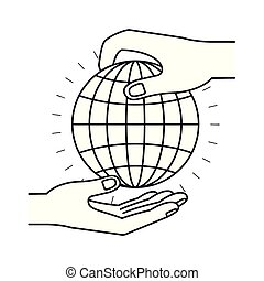 silhouette side view of palm human holding a globe chart to deposit in other hand
