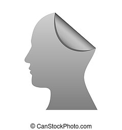 silhouette silver head human with fold