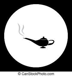 silhouette, simple, conte fées, lampe, noir, eps10, icône