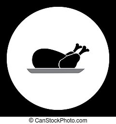 silhouette, simple, noir, eps10, poulet, cuit, icône