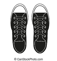 Silhouette simple symbol of gumshoes. Example sneakers. Realistic Editable Illustration isolated on white background.