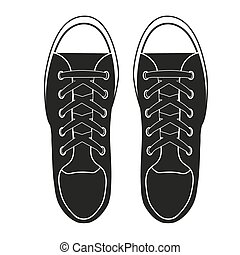 Silhouette simple symbol of gumshoes sneakers. Vector...