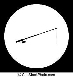 silhouette, simple, tige, noir, peche, eps10, icône