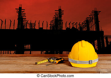 silhouette, site, construction
