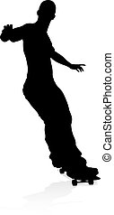 Silhouette Skater Skateboarder - Very high quality and...