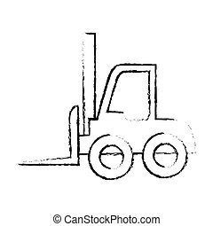 silhouette sketch blurred forklift truck with boxes