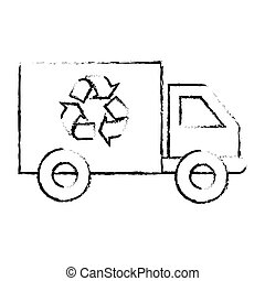 silhouette sketch blurred transport truck with vagon and...