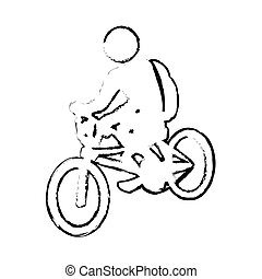 silhouette sketch blurred with pictogram man ride bicycle