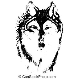 Silhouette sketch for tattoo, wolf head on a white background
