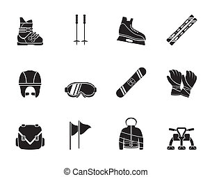 ski and snowboard equipment icons - Silhouette ski and...