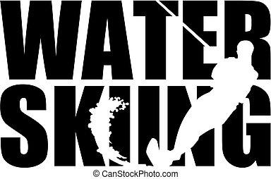 silhouette, ski, eau, mot, coupure