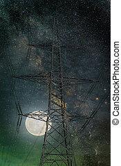 silhouette, sky., électricité, nasa), (elements, meublé, lune, façon, nuit, poste, image, laiteux