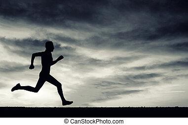 silhouette, sky., correndo, nuvoloso, elemen, nero, white., uomo