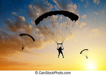 parachutist landing - Silhouette skydiver parachutist...