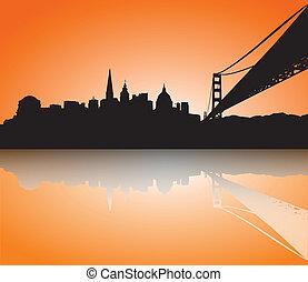 silhouette, skyline, francisco, ondergaande zon , san