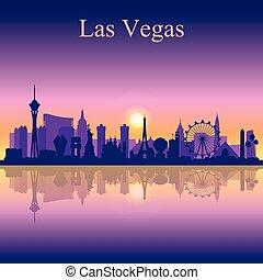 silhouette, skyline, las vegas, sonnenuntergang, hintergrund, las