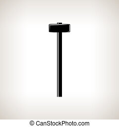 Silhouette sledgehammer or hammer ,claw hammer on a light background, hand tool with a hard head attached perpendicular to the handle ,black and white illustration