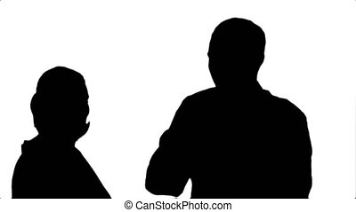 Silhouette Smiling young woman and man in lab coat making...