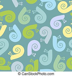Silhouette  snail with spiral shell. Vector seamless texture.