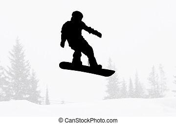 silhouette, snowboarder