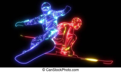 silhouette snowboarder with skier video animation -...