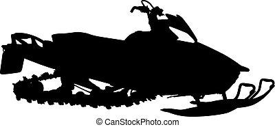 silhouette, snowmobile, bianco, fondo., vettore,...