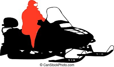 Silhouette snowmobile  on white background. Vector illustration