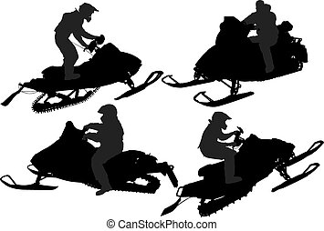 silhouette, snowmobiling