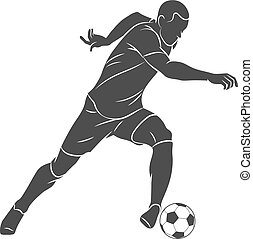 Silhouette soccer player running with the ball on a white background