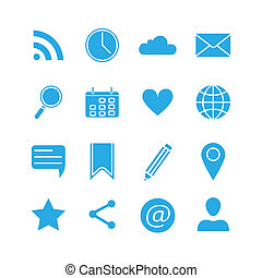 Silhouette social media icons set