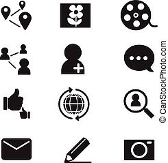 Silhouette Social network icons set