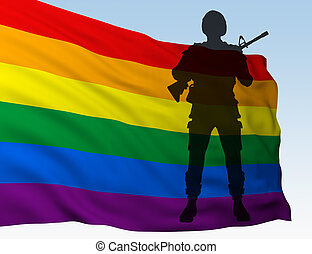 silhouette soldier against flag of LGBT