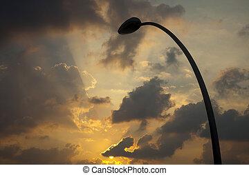 silhouette, &, soleil, lampe, rue, monture