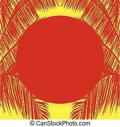 silhouette, soleil, sur, arbre, jaune, paume, fond, rouges